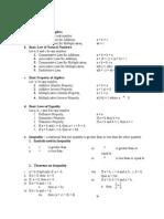 Mathematics Formulas for CE Board Exam