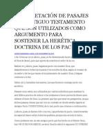 Nterpretación de Pasajes Del Antiguo Testamento Que Son Utilizados Como Argumento Para Sostener La Herética Doctrina de Los Pac