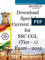 Special Current Affairs for SSC CGL Tier 1 Exam 2015