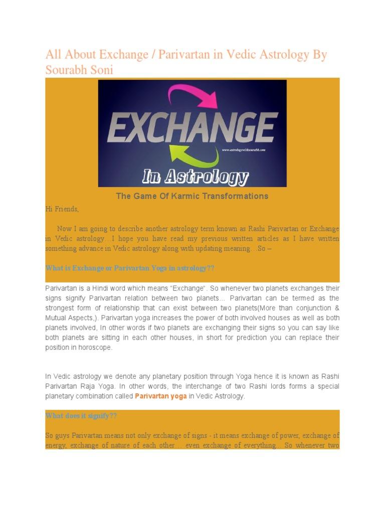 All About Exchange Parivartan Yoga | Hindu Astrology