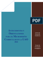 Antecedentes y Orientaciones Diseño Microcurricular 2012