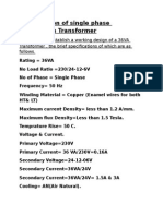 Specification of Single Phase Distribution Transformer
