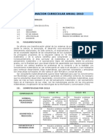PROGRAMACION ANUAL  MATEMATICA 2010- I.E Nº 109-UGEL 05- INCA MANCO CAPAC SUBDIRECTOR HUGO BAUTISTA