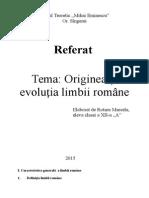 Originea si evlutia limbii romane