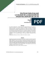 Politicas Para Evaluar La Calidad de La Educacion en Argentina Despues de Los 90
