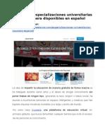 Conoce las especializaciones universitarias en Coursera disponibles en español