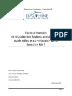 Facteur Humain Et Réussite Des Fusions Acquisitions Quels Rôles Et Contribution de La Fonction RH
