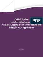 2016 Help Guide Applicant CaRMS Online Application