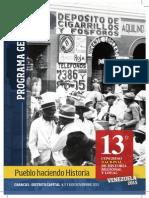 Programa General del 13 Congreso Nacional de Historia Local y Regional