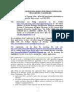 Italian Govt Scholarships 2010-11