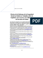 Efectos de la Reforma de la Seguridad Social en Salud en Colombia sobre la Equidad en el Acceso y la Utilización de Servicios de Salud
