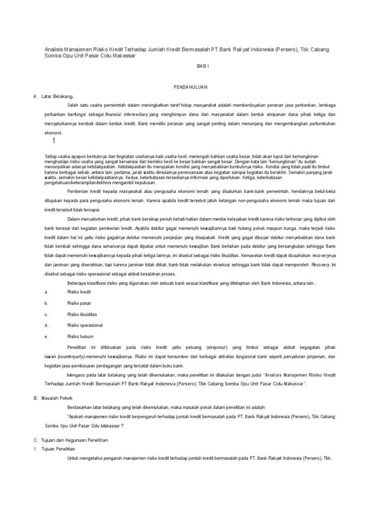 Analisis Manajemen Risiko Kredit Terhadap Jumlah Kredit Bermasalah Pt Bank Rakyat Indonesia Docx