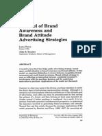 A Model of Brand Awareness Brand Attitude Advertising Strategies