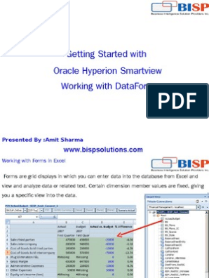 HFM Smartview DataForm | Microsoft Excel | Oracle Database