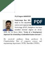 Dr Panduranga Rao MV PhD Awarded