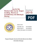 Resume Chapter 13 Blocher - Jurnal 8.1 Target Costing - Jurnal 8.2 Strategic Pricing