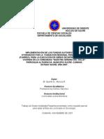 """IMPLEMENTACIÓN DE LOS FONDOS AUTOGESTIONARIOS OTORGADOS POR LA  FUNDACIÓN REGIONAL PARA LA VIVIENDA  (FUNREVI), PARA LA EJECUCIÓN DE OBRAS DE INFRAESTRUCTURA Y VIVIENDA EN LA COMUNIDAD """"NUESTRA SEÑORA DEL VALLE"""". PARROQUIA ALTAGRACIA, MUNICIPIO SUCRE- CUMANÁ,"""