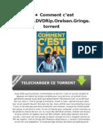 ˜ҩ Comment c'est loin.2015.DVDRip.Orelsan.Gringe.torrent