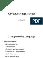 C Programming Language - Lecture 1