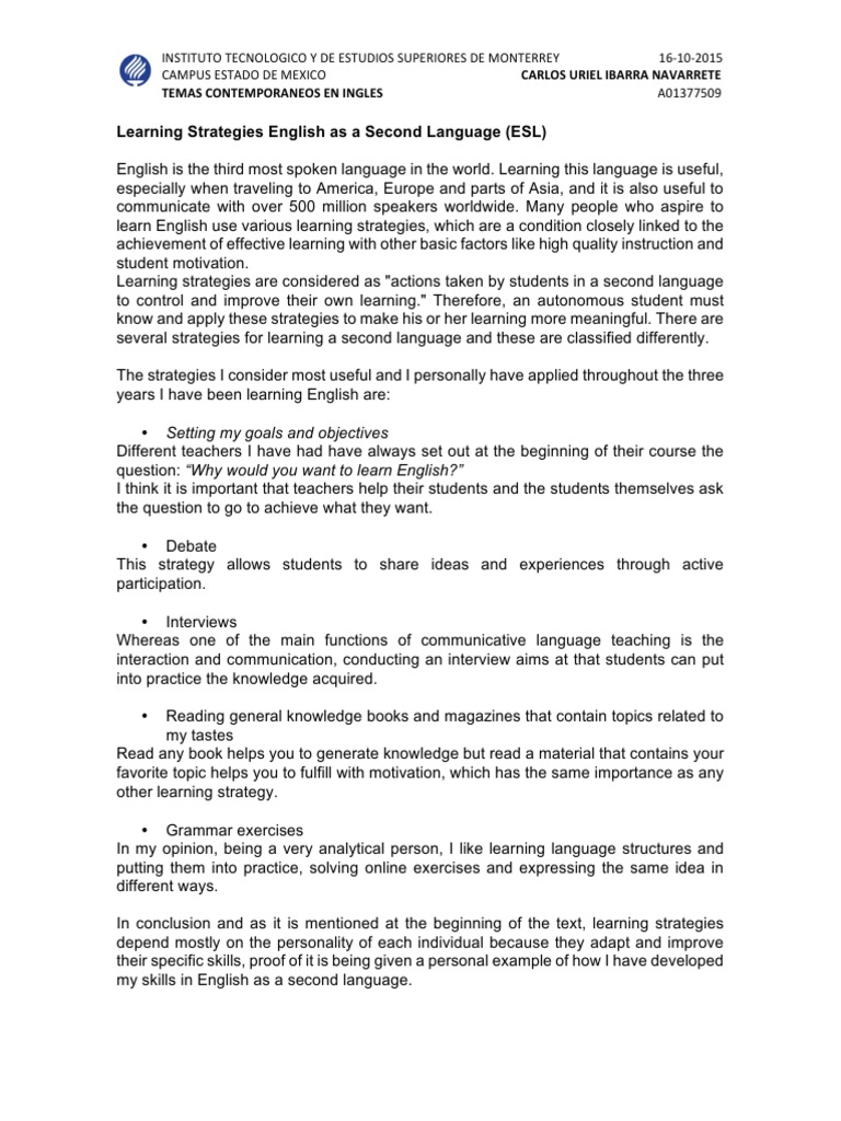 Paper Vs Essay Essay  English As A Second Or Foreign Language Learning  Essay  Healthy Lifestyle Essay also Political Science Essay The Importance Of Learning English Help Writing College Essays Reflection Paper Example Essays