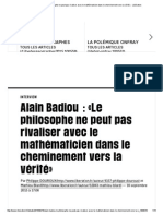 Badiou Le Philosophe Ne Peut Pas Rivaliser Avec Le Mathématicien... Libération 2015
