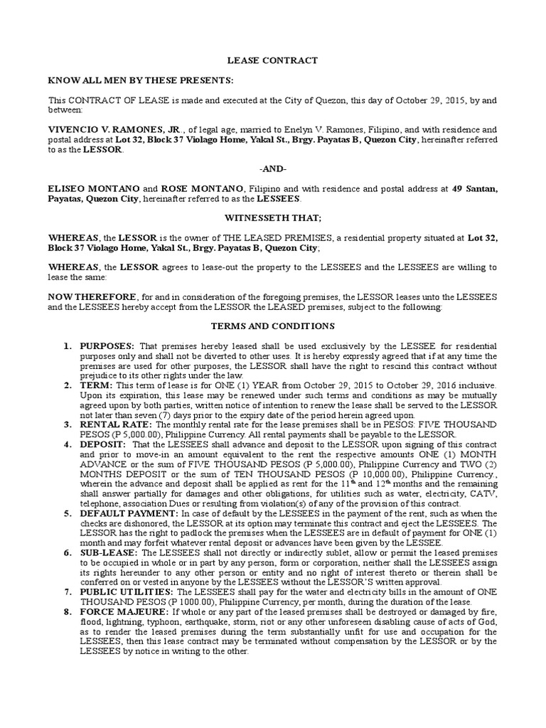 Lease Contract   Lease   Law Of Obligations