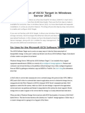 Introduction of iSCSI Target in Windows Server 2012 docx