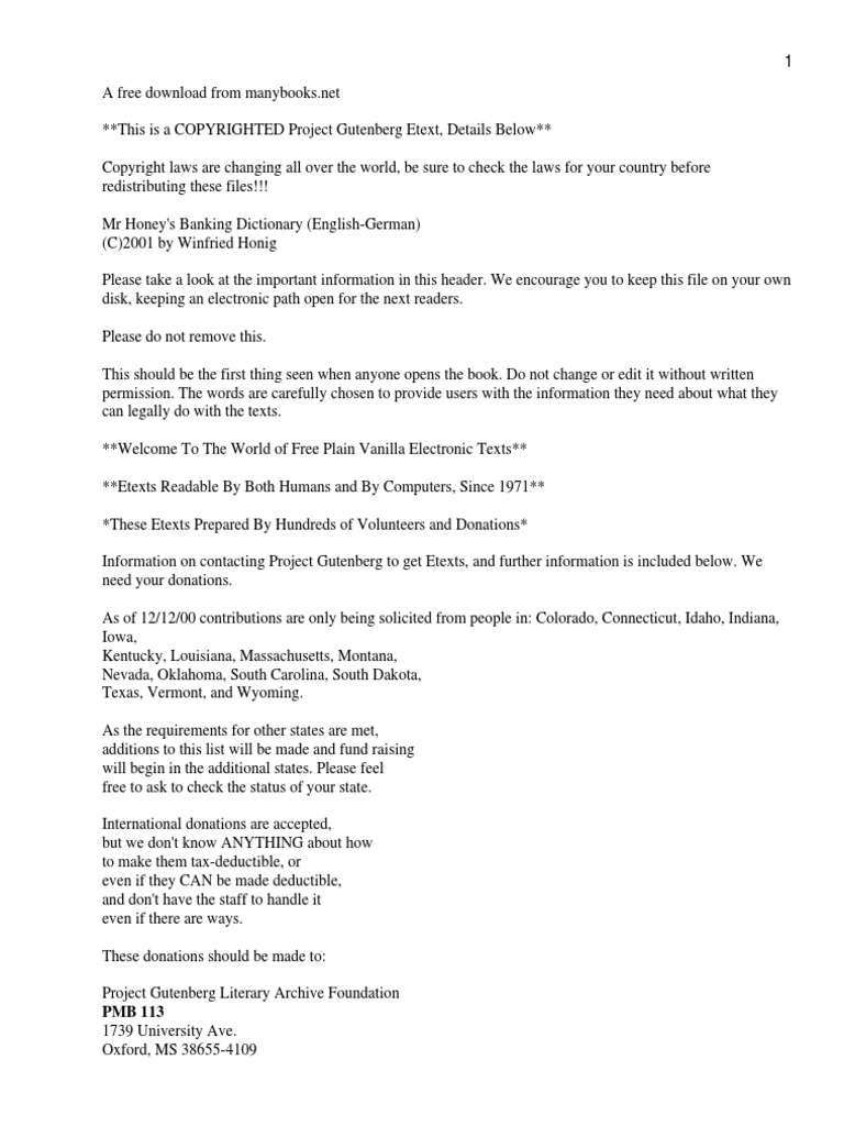 Mr Honey\'s Banking Dictionary (English-German)   Project Gutenberg ...