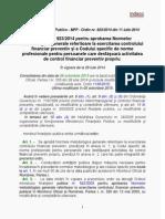 Ordinul Nr. 923-2014 Pentru Aprobarea Normelor Metodologice Generale Referitoare La Exercitarea Controlului Financiar Preventiv.