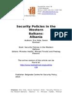 Sigurnosna Politika Na Balkanu Albanija