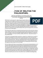 Psuedo Melito Apology and Fragments