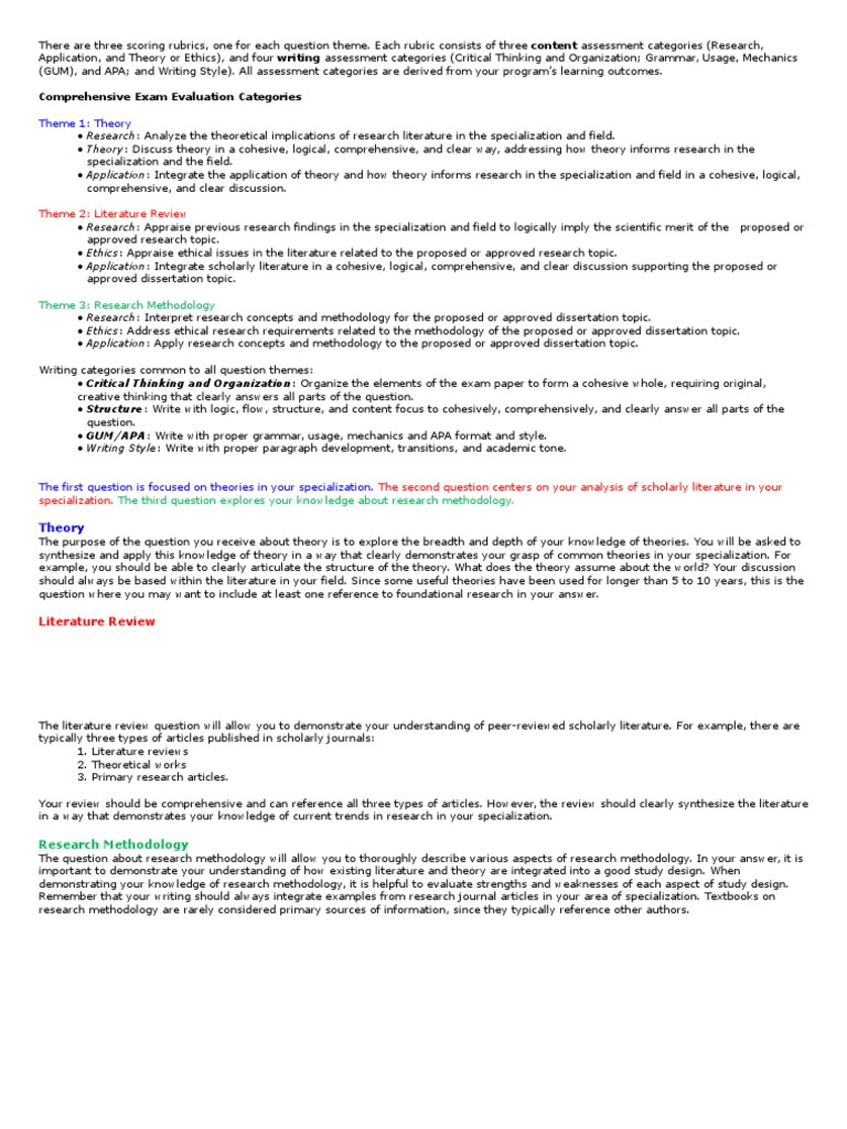 boote beile literature review scoring rubric