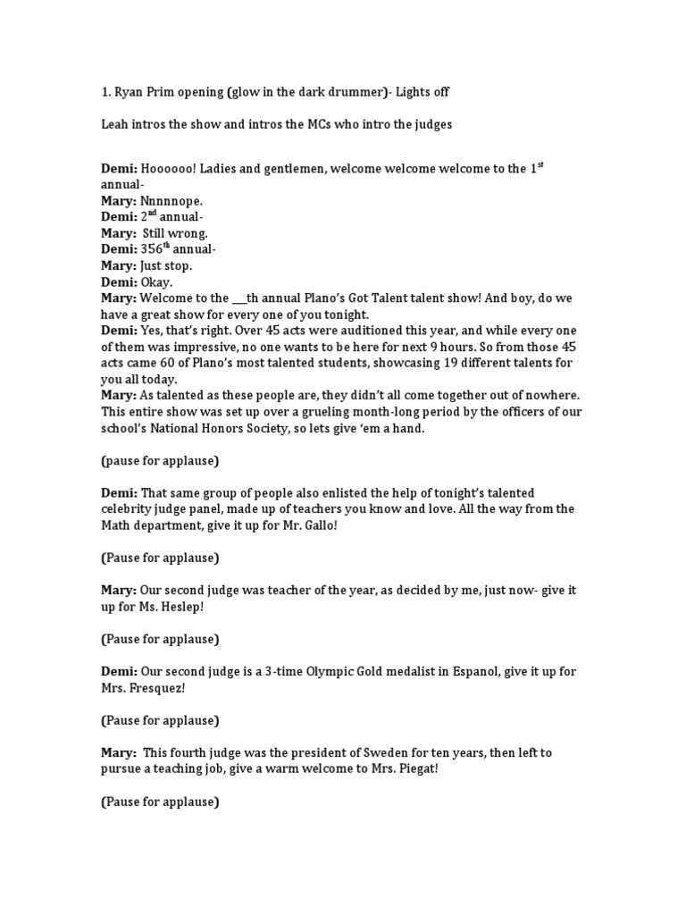 talent show script for host