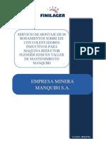 Propuesta de Servicio de Montaje de Rodamientos Para EMPRESA MINERA MANQUIRI S a SDI-14 -LPZ-177A