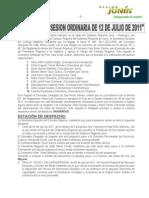 Acta N° 025 de Sesión Ordinaria 12 de julio de 2011