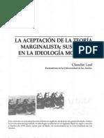 La Aceptación de La Teoría Marginalista. Sus Raíces en La Ideología Moderna