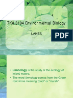 ENVIRONMENTAL BIOLOGY (TKA3104)  LECTURE NOTES -7 Lakes