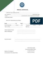 Medical Certificate - Direct PhD Studies