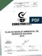 Plan de Manejo Ambiental de Residuos Solidos 2015