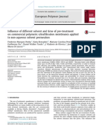 Influence of different solvent and time of pre-treatment on commercial polymeric ultrafiltration membranes applied to non-aqueous solvent permeation