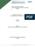 Unidad 1. Preambulo de La Responsabilidad Social y Etica Empresarial