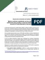 Ratifica FMI línea de crédito para México por 65 mil mdd