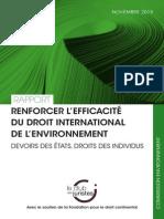 Rapport Renforcer l'efficacité du droit international de l'environnement