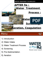 WATER TREATMENT TECHNOLOGY (TAS 3010) LECTURE NOTES 9a -Water Intake, Screening, Aeration, Coagulation