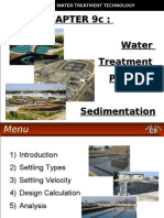 WATER TREATMENT TECHNOLOGY (TAS 3010) LECTURE NOTES 9c - Sedimentation