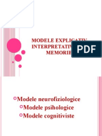 Modele Explicativ-Interpretative Ale Memoriei