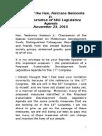 Keynote Speech for the SDG Legislative Agenda_112015