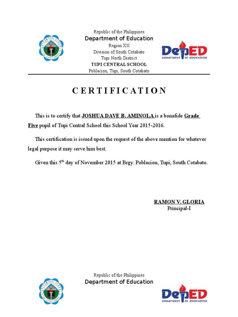 Certification of Enrolment Sample