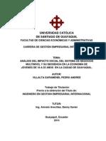 ANÁLISIS DEL IMPACTO SOCIAL DEL SISTEMA DE NEGOCIOS MULTINIVEL Y SU INCIDENCIA EN LA ECONOMÍA DE JÓVENES DE 18 A 25 AÑOS EN LA CIUDAD DE GUAYAQUIL.