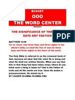 SIGNIFICANCE OF THE THREE DAYS DRYFASTING